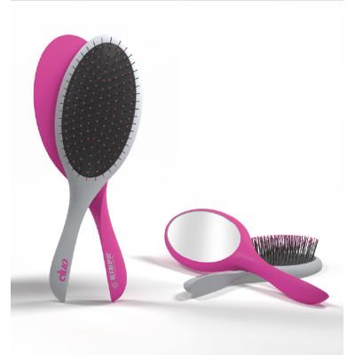 Массажная расческа с зеркалом Kiepe Magnetic Duo Grey-Pink (20101)